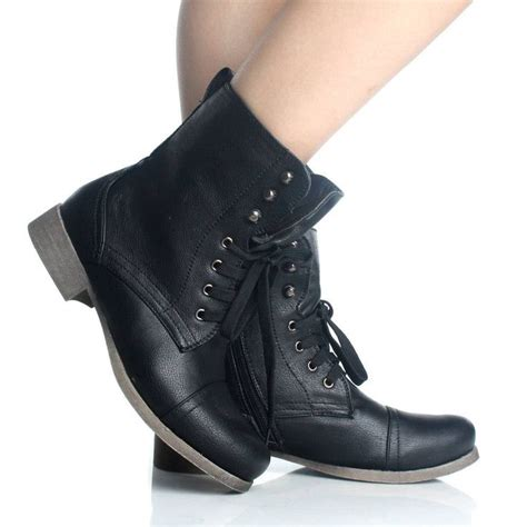 black lace up ankle boots womens work combat motorcycle