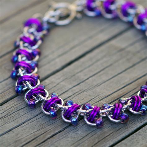 beaded chainmaille jewelry patterns purple and silver beaded chain maille bracelet purple