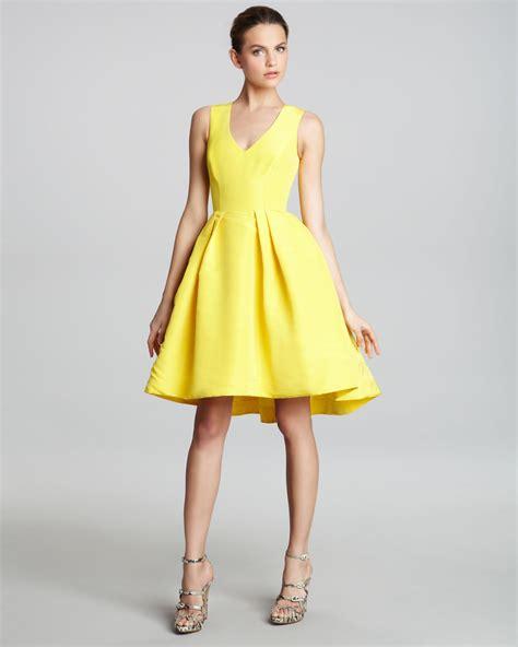 Dress Yellow lhuillier fullskirt cocktail dress in yellow lyst