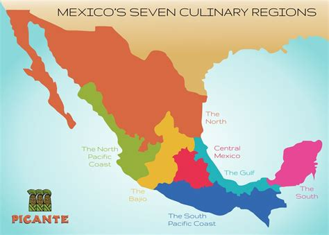 regional map of mexico seven regions picante