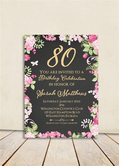 sle invitations for 80th birthday cottage chic chalkboard 80th birthday invitation any age