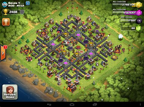layout coc base clash of clans town hall level 10