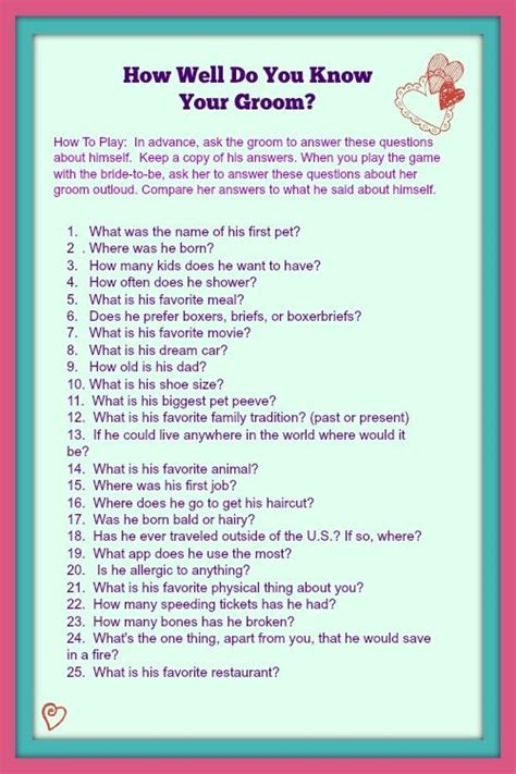bridal shower questions well does groom printable how well do you your groom bridal bridal showers bridal showers