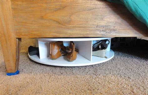 under the bed shoe rack lazy susan under bed shoe rack ocd storage pinterest