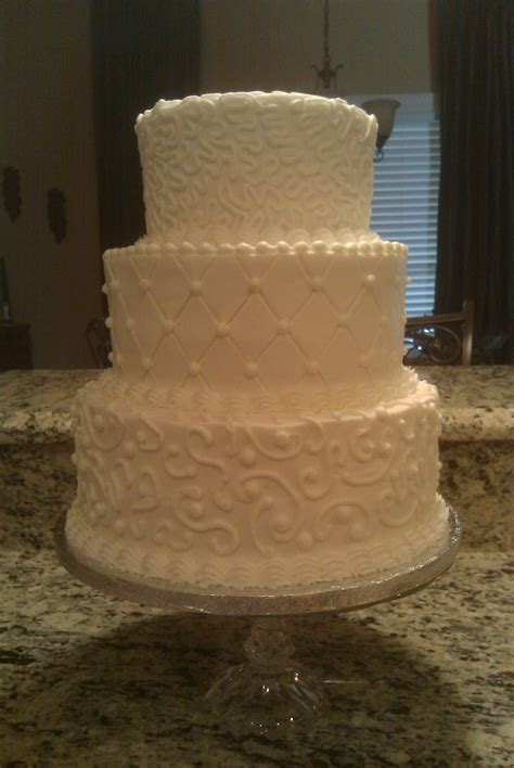 White On White Buttercream Scroll Three Tier With Scrolls Cakecentral