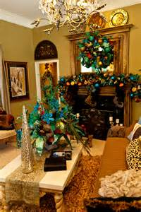 How To Decorate A Fireplace For Christmas show me a home dressed in peacock miss cayce s