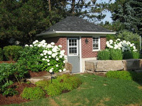brick garden shed traditional landscape toronto by