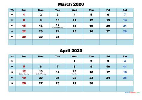 printable calendar march  april  word