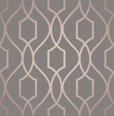 Fine Decor Apex Geo Rose Gold Grey Wallpaper FD41998