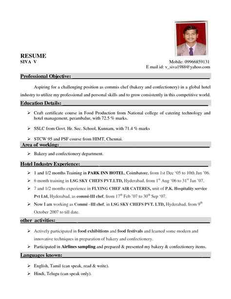 resume format for hotel resume sle for hotel chef yahoo image search results jemm 8678 yahoo