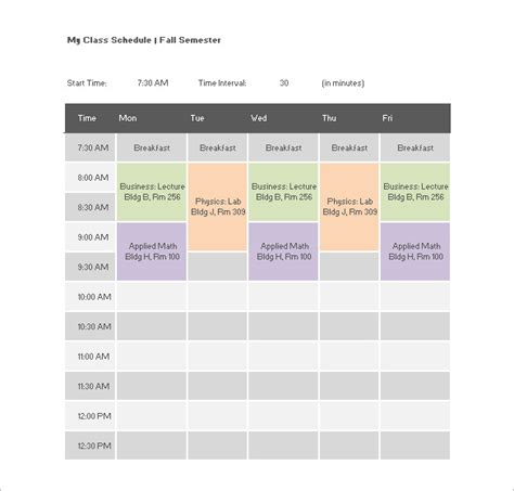 class schedule template college class schedule template 7 free word excel pdf
