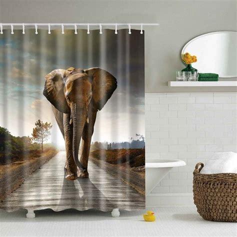 elephant drapes bathroom waterproof elephant printed shower curtain brown