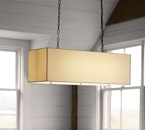 Rectangular Drum Pendant Light Linen Rectangular Pendant Pottery Barn