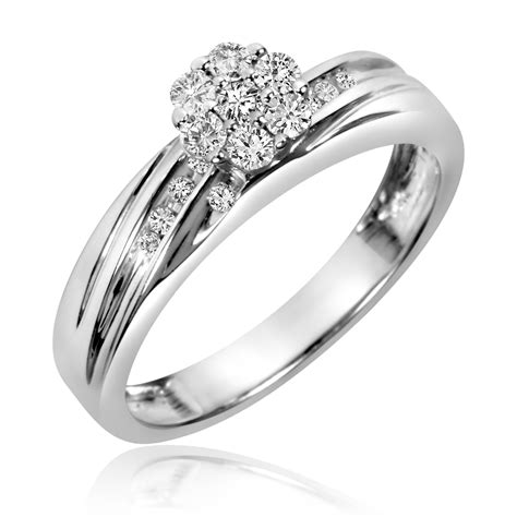 3 8 ct t w trio matching wedding ring set 10k
