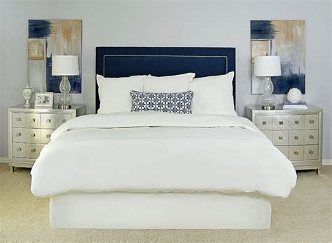 navy blue and white bedroom navy upholstered headboard transitional bedroom ej