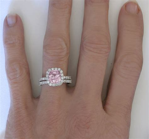 Cushion Cut Light Pink Sapphire And Diamond Halo