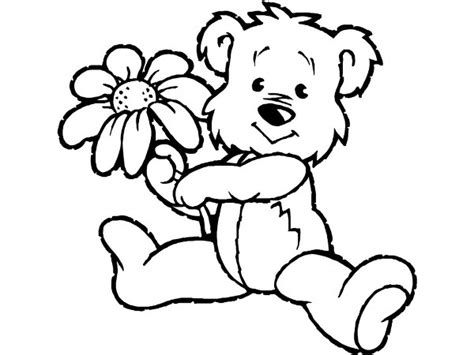 teddy bear with flower coloring page teddy bear with a flower free printable coloring pages