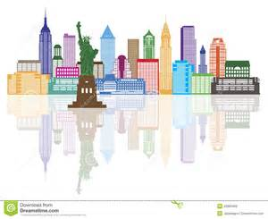 nyc new york color new york city skyline color vector illustration stock