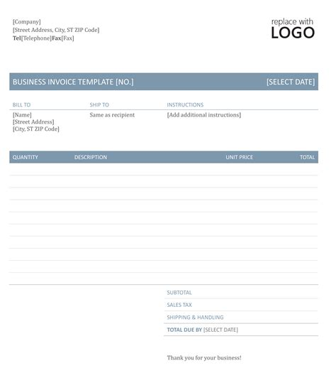 microsoft word business invoice template word invoice