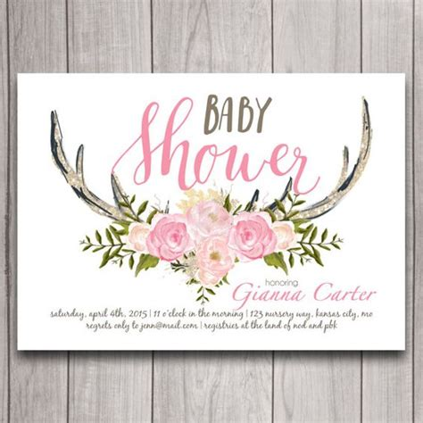 Deer Themed Baby Shower by Antler Baby Shower Invitation Printable Pink