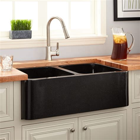 Black Farm Sinks For Kitchens 33 Quot Polished Granite Bowl Farmhouse Sink Black Farmhouse Sinks Kitchen