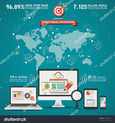 Search Engines World Map Smart Seo Search Engine Optimization Worldwide Infographics Stock Vector 252499999