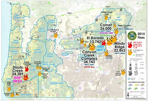 map of oregon 2015 fires wildfire oregon dept of forestry large map