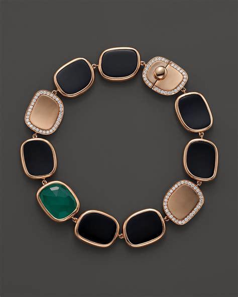 Roberto Coin 18K Rose Gold Diamond, Black Jade And Green Agate Bracelet in Pink (Rose Gold/Black