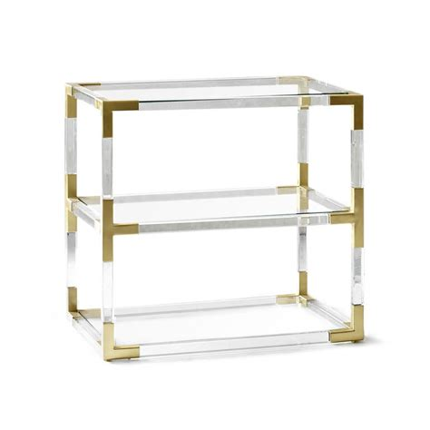 2 tier side table jacques two tier acrylic and brass side table modern