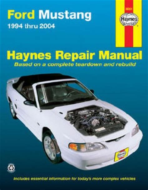 automotive maintenance light repair books ford mustang 1994 2004 haynes car repair manual