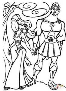 hercules and megara are walking together coloring page