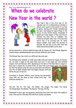 new year comprehension activities 111 free esl new year worksheets