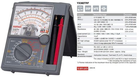 Alat Multitester harga jual sanwa yx360trf analog multitester
