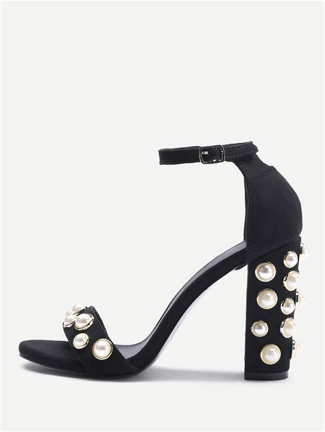 Faux Pearl Heel Sandals faux pearl decorated two part block heel sandals shein