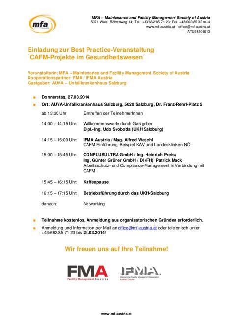 Muster Einladung Veranstaltung Einladung Best Practice Veranstaltung Im Ukh Salzburg