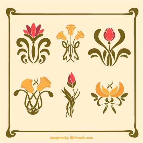 pack of flowers in art nouveau style vector free download