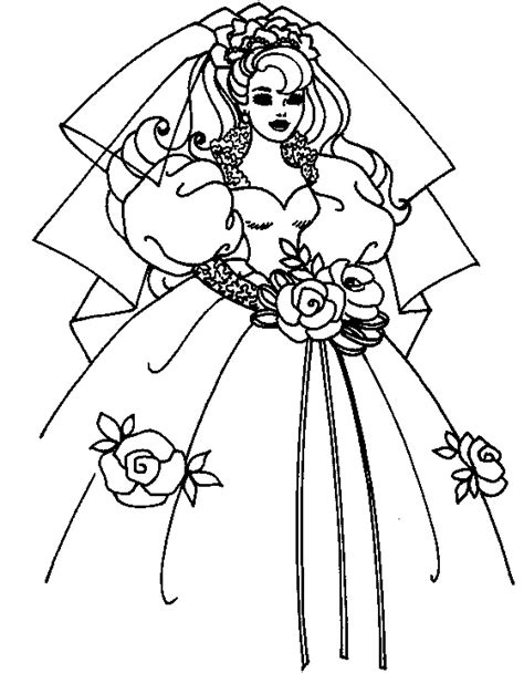 coloring page of bride wedding dress for kids coloring point