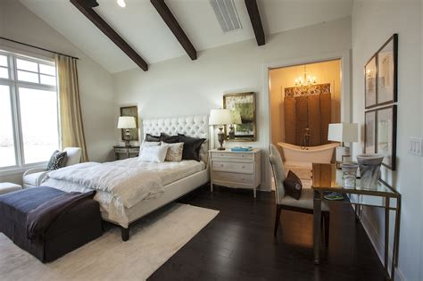 master bedroom vaulted ceiling mismatched nightstands transitional bedroom southern