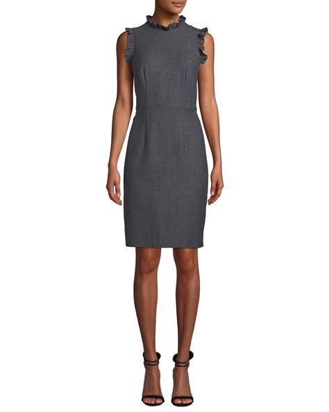 Sleeveless Ruffle Sheath Dress sleeveless ruffle herringbone sheath dress