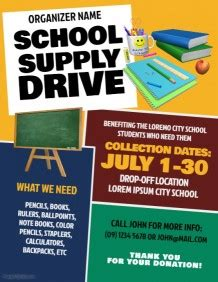 Customize 3 320 School Poster Templates Postermywall Free School Supply Drive Flyer Template