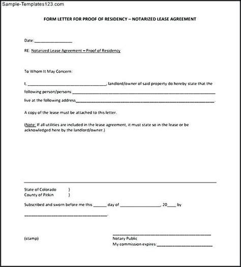 proof of residency letter from landlord free printables redefined