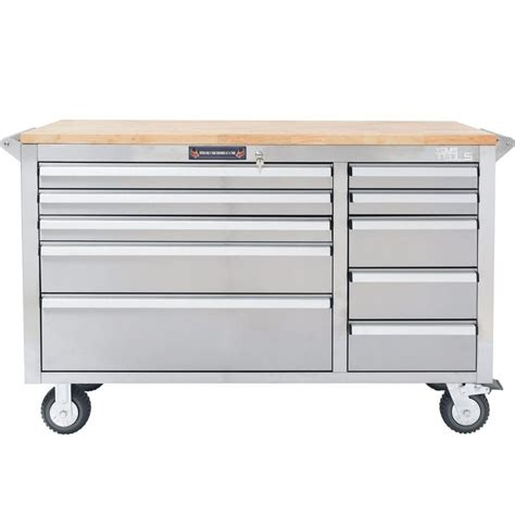 tool cabinet with wood top yourtools 56 in 10 drawer tool chest with wooden counter
