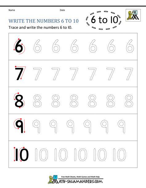 printable tracing number 6 numbers 6 10 worksheets for kindergarten mmosguides