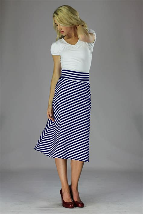 Knit Midi A Line Skirt modest midi skirts in navy and white stripes