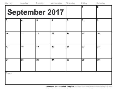 Calendar 2017 Template September September 2017 Calendar Template