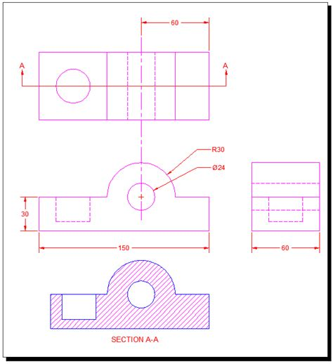 section views autocad a b c autocad tutorial 13
