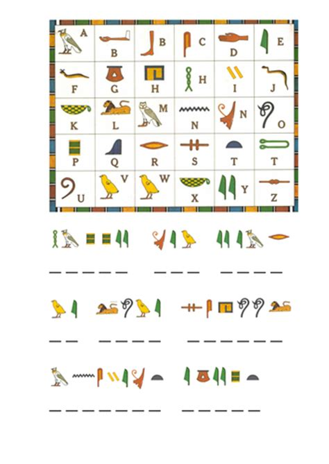 Hieroglyphics Worksheet by Y3 Ancient Topic Hieroglyphics By Nikkiw 267