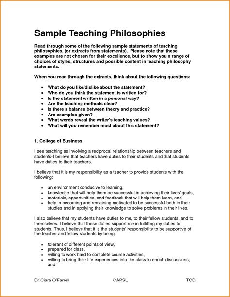 Teaching Philosophy Template teaching philosophy statement exles teachphilosophy6 jpg letterhead template sle