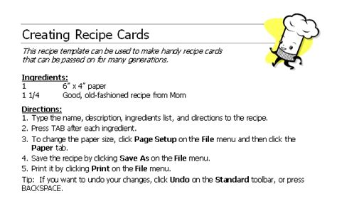 microsoft office recipe card template recipe card template cards scrapbooks