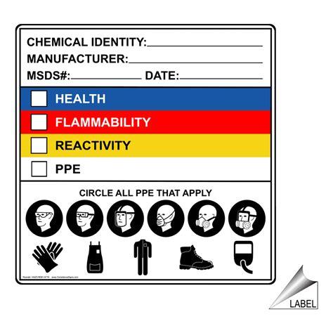 chemical identity manufacturer msds date label hazchem